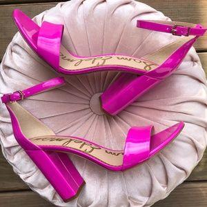SAM EDELMAN Yaro Patent Leather Ankle Strap Sandal